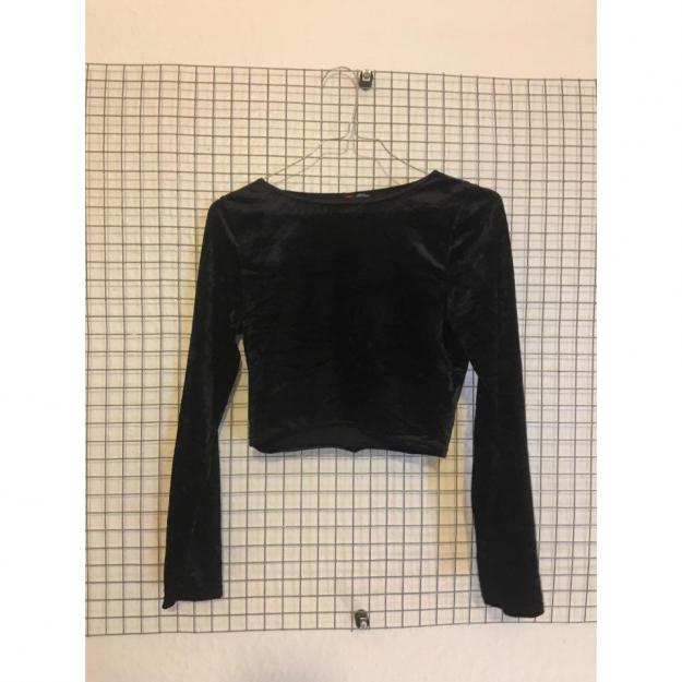 Sort velour croptop