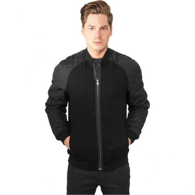 Diamond Nylon Wool Jacket, Sort