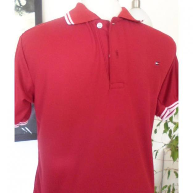 Rød Tommy Hilfiger polo t-shirt, str. L